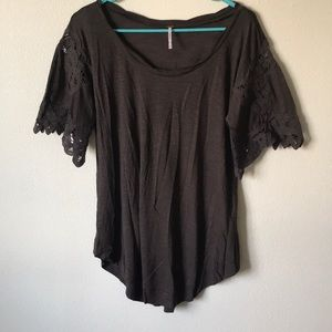 Free people Mid length tee with Lacey sleeve